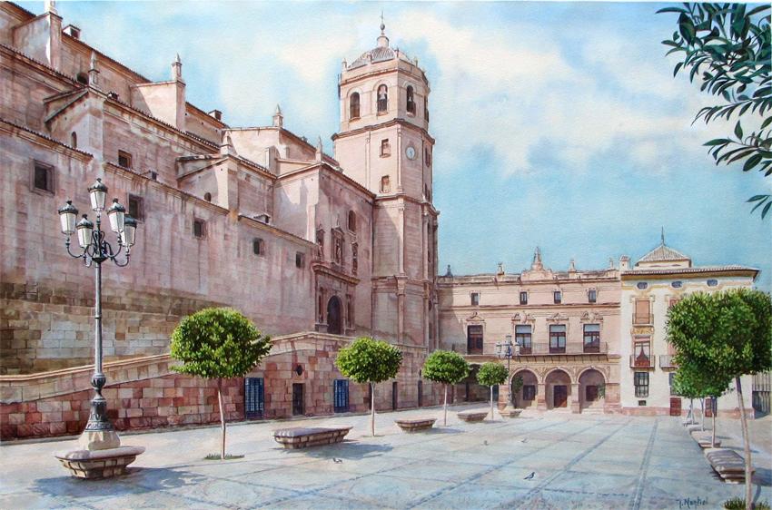 PLAZA DE ESPAÑA. LORCA Acuarela sobre papel, 100 X 65 cm,. José Montiel
